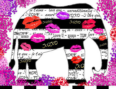 Artyzen Kids Mixed Media - Elephant Hugs And Kisses by WALL ART and HOME DECOR