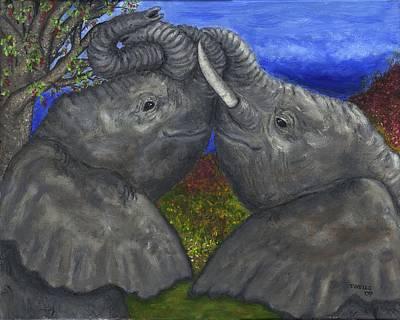 Elephant Hugs Art Print by Tanna Lee M Wells
