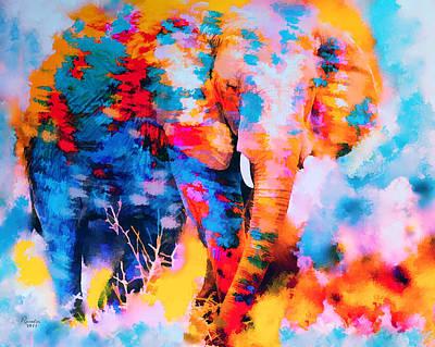 Elephant Impression Art Print by Rosalina Atanasova