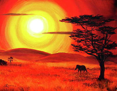 Elephant In A Bright Sunset Original by Laura Iverson