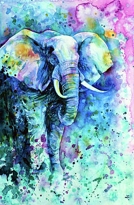Animals Royalty-Free and Rights-Managed Images - Elephant in a Purple Cloud by Zaira Dzhaubaeva