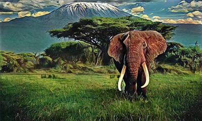 Digital Art - Elephant In Tanzania Serengeti Plains by Russ Harris