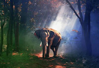 Sun Rays Mixed Media - Elephant In The Heat Of The Sun by Georgiana Romanovna