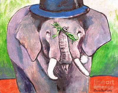 Painting - Elephant In Top Hat by Deanna Yildiz
