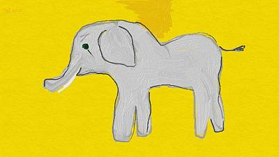 Animals Drawings - Elephant in Yellow by Samuel Zylstra