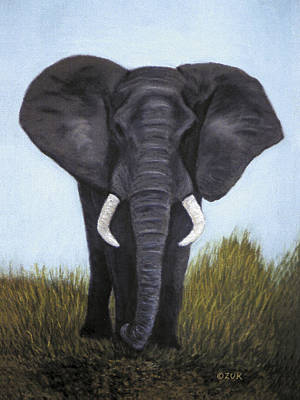 Art Print featuring the painting Elephant by Karen Zuk Rosenblatt