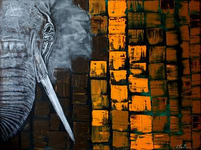 Elephant Painting - E.l.e.p.h.a.n.t by Laura Barbosa