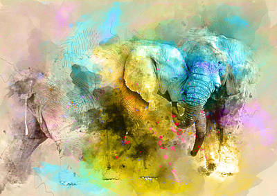 Elephant Love  2 - By Diana Van Art Print