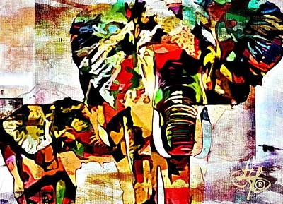 Digital Art - Elephant Love by Lynda Payton