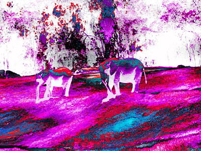 Animal Digital Art - Elephant Lovers In Crazy Colors by Abstract Angel Artist Stephen K