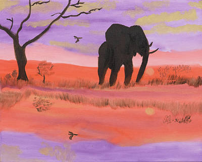 Painting - Elephant Spotlight by Meryl Goudey