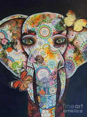 Painting - Elephant Mixed Media 1 by Reina Cottier
