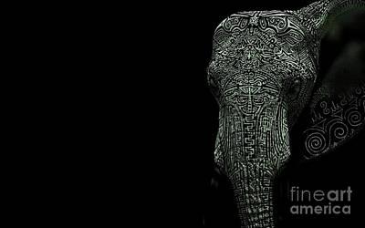Elephant Monokrom Art Print
