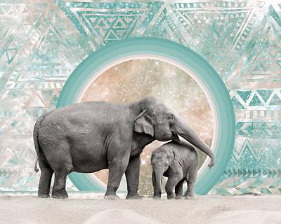 Elephant Mother And Child Original