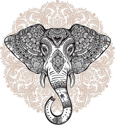 Painting - Elephant On Mandala by Aloke Creative Store