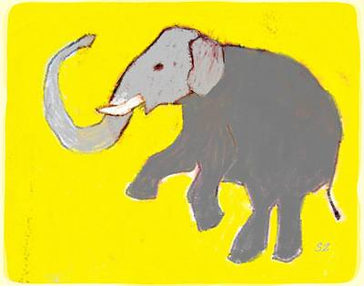 Easter Bunny - Elephant on Yellow by Samuel Zylstra
