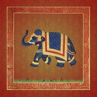 Digital Art - Elephant Painting Indian Style Red Grey Gold by ReadyForYoga Online-Shop
