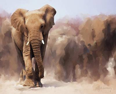 Elephant Painting Print by Michael Greenaway