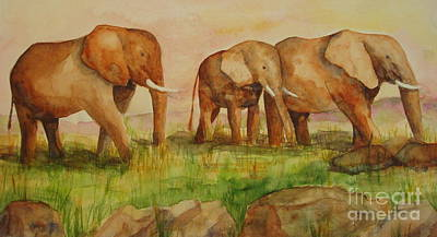 Art Print featuring the painting Elephant Parade by Vicki  Housel