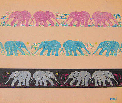 Animals Drawings - Elephant Pattern by John Keaton