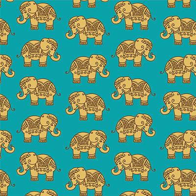Elephant Digital Art - Elephant Pattern by Krishna Kharidehal