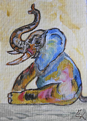 Painting - Elephant Play - Blue Baby Too by Ella Kaye Dickey