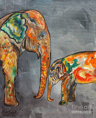 Animals Paintings - Elephant Play Day by Ella Kaye Dickey