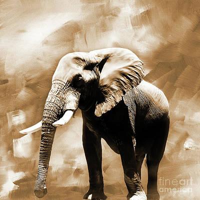 Elephant Painting - Elephant Portrait 01 by Gull G