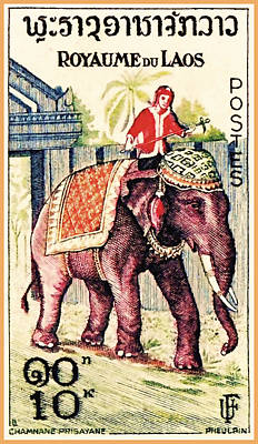Elephant Procession For Lao New Year Art Print