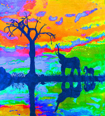 Elephant Reflections Art Print