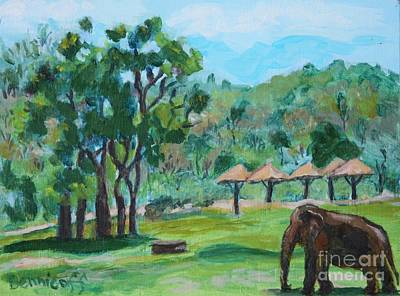 Painting - Elephant Sanctuary Ching Mai Thailand by Jan Bennicoff