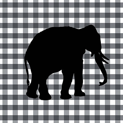 Gingham Digital Art - Elephant Silhouette by Linda Woods
