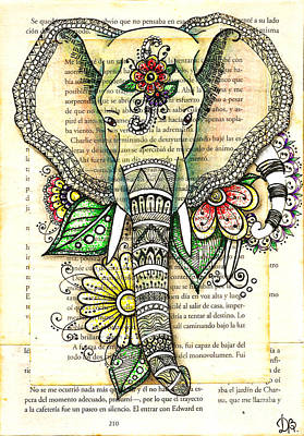 Drawing - Elephant Tangle Flowers by Delein Padilla