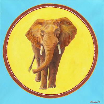 Wildlife Painting - Elephant Totem by Zsuzsanna Rossetter