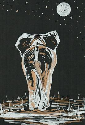 Drawing - Elephant Under The Moonlight  by Teresa White