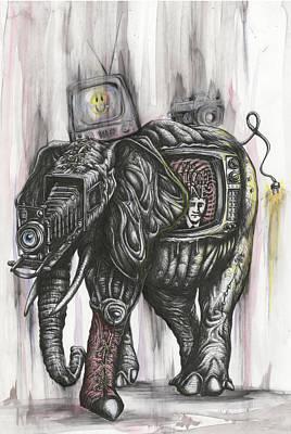 Icon Mixed Media - Elephant Walk With Vintage Accessory by Tai Taeoalii