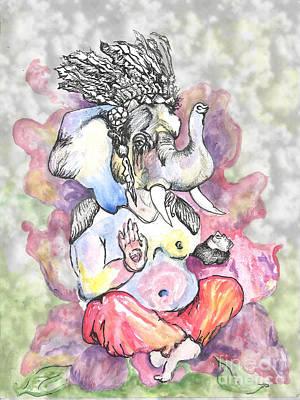 Indian Tribal Art Painting - Elephant Warrior Goddess Clouds by Lauren Pumphrey