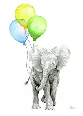 Baby Elephant Wall Art - Painting - Elephant Watercolor Baby Animal Nursery Art by Olga Shvartsur