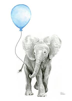 Balloon Painting - Elephant Watercolor Blue Nursery Art by Olga Shvartsur