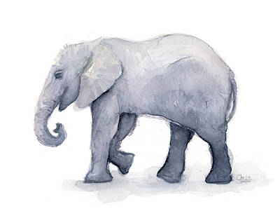 Zoo Animal Wall Art - Painting - Elephant Watercolor by Olga Shvartsur