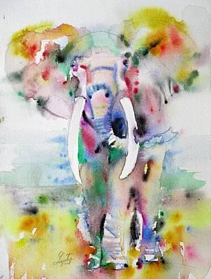 Painting - Elephant - Watercolor Portrait.7 by Fabrizio Cassetta