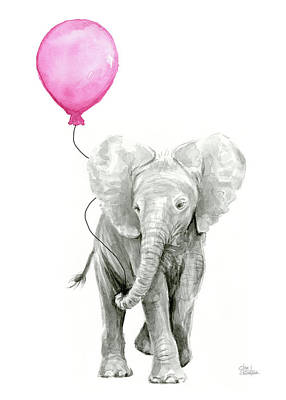 Elephant Watercolor With Pink Balloon Art Print by Olga Shvartsur