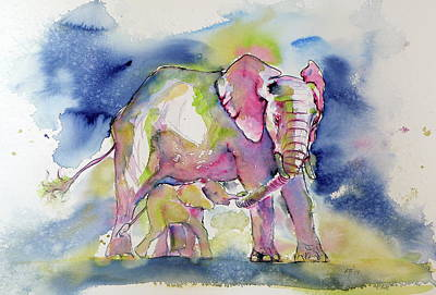 Painting - Elephant With Baby by Kovacs Anna Brigitta
