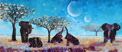 Elephant Painting - Elephants And Contentment by Ashleigh Dyan Bayer