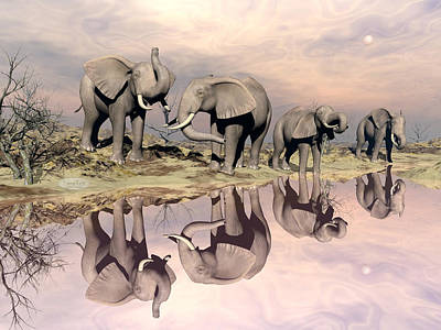 Landscapes Royalty-Free and Rights-Managed Images - Elephants and water - 3D render by Elenarts - Elena Duvernay Digital Art
