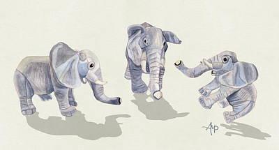 Elephants Print by Angeles M Pomata