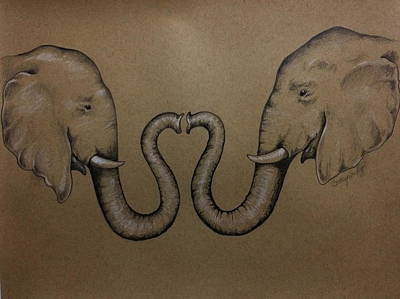Drawing - Elephants by Catherine Howley