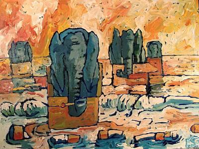 Elephants Floating Ashore On Butt Island Art Print by Charlie Spear