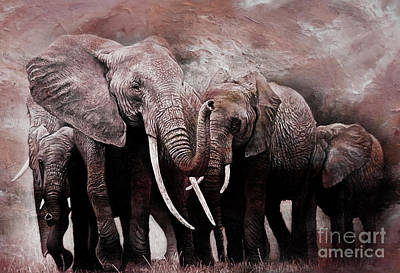 Elephant Mountain Painting - Elephants Group  by Gull G