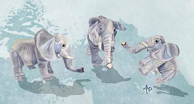 Elephants In Blue Print by Angeles M Pomata